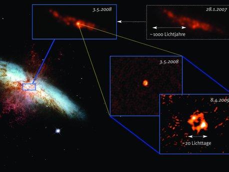 Darstellung des zentralen Bereichs der Galaxie M82, einer der nächstgelegenen Starburst-Galaxien in einer Entfernung von nur 12 Millionen Lichtjahren.