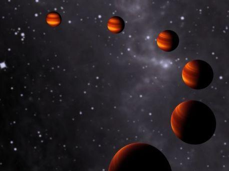 In dieser künstlerischen Darstellung sind die verschiedenen Phasen von Corot-1b zu sehen, während er seine Sonne umkreist. Da der Exoplanet eine gebundene Rotation um seinen Zentralstern vollführt, ist auf der einen Seite immer Tag, auf der anderen immer Nacht.
