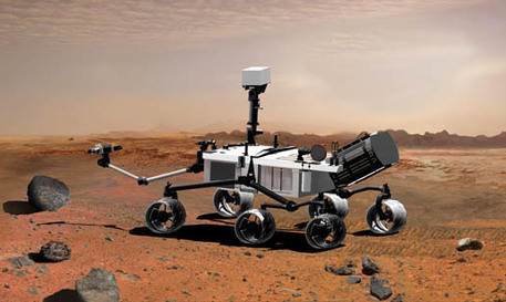 This picture is an artist's concept portraying NASA's Mars Science Laboratory, a future mobile robot for investigating Mars' past or present ability to sustain microbial life.