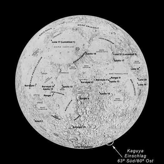 Die japanische Mondsonde Kaguaya (Selene), die sich seit Ende 2007 in einer Mondumlaufbahn befindet, stürzt am 10. Juni 2009 um 20.30 Uhr Mitteleuropäischer Sommerzeit auf den Mond. Die erwartete Einschlagsstelle am Krater Gill befindet sich etwa bei 63 Grad südlicher Breite und 80 Grad östlicher Länge.