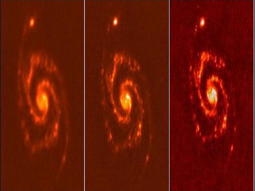 Herschel nahm die so genannte Whirpool-Galaxie M51 bei drei verschiedenen Wellenlängen auf: 160, 100 und 70 Mikrometer.