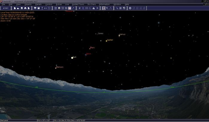 Este screenshot, muestra la alineación de Mercurio, Júpiter, Marte y Venus. También se puede ver el sol entre los planetas. En realidad son las 11 am, pero se puede desactivar los efectos atmosféricos en Redshift, lo que le permite ver las estrellas y los planetas durante el día.