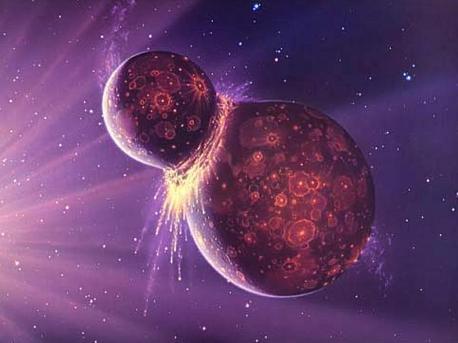 Die künstlerische Darstellung illustriert die Kollisions-Theorie. Wahrscheinlich streifte in der Frühzeit des Sonnensystems ein marsgroßer Himmelskörper die junge Erde. Dabei wurde Gesteinsmaterial des Himmelskörpers und des Erdmantels ins All geschleudert. Dieses sammelte sich dann ringförmig in einer nahen Erdumlaufbahn und verdichtete sich dort zum Mond.