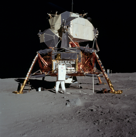 This photograph shows Apollo 11 astronaut Buzz Aldrin in front of the lunar module. The photo helps provide a scale to the LROC images.