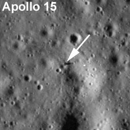 Apollo 15 lunar module, Falcon. Image width: 384 meters (about 1,260 ft.)