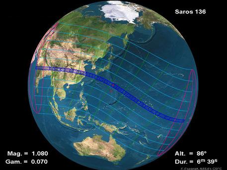Der Bereich, in dem die Finsternis total verläuft, ist als dunkelblauer Streifen dargestellt. In dem anderen gerasterten Bereich ist die Verfinsterung der Sonne durch den Mond für einen Beobachter nur partiell zu sehen, von hellblauer Linie zu hellblauer Linie nach außen wandernd jeweils mit 20 Prozent geringerer Sonnenbedeckung.