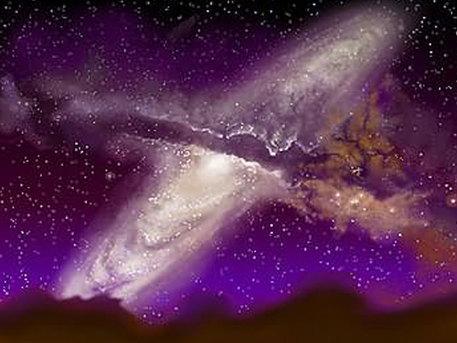 Die künstlerische Darstellung zeigt die Kollision von Milchstraße und Andromedagalaxie in mehreren Milliarden Jahren. Dieses Zukunftsszenario beruht auf Beobachtungsdaten und analytisch geschulter Fantasie. Einen Eindruck vom Aufbau der Milchstraße vermittelt übrigens das Bild zur Astronomischen Frage aus Woche 11: Wie schnell ist die Erde?