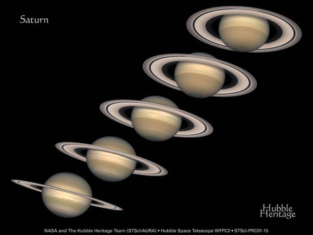 Since Saturn's axis is tilted as it orbits the sun, Saturn has seasons, like those of planet Earth -- but each of Saturn's seasons last for over seven years. The Hubble Space Telescope took the above sequence of images about a year apart. Starting on the left in 1996 and ending on the right in 2000.