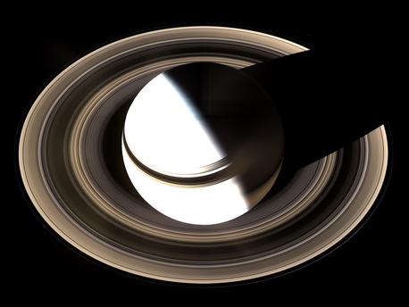 The individual photos making up the picture were taken by the Cassini space probe on January 19, 2007. In order also to capture the dark part of the rings, exposure times were used which mean that Saturn itself is overexposed and therefore shows as white. A section of the ring system lies in Saturn's shadow.