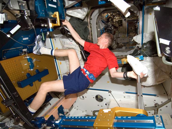 ESA-Astronaut Frank de Winne während der Mission OasISS an Bord der Internationalen Raumstation ISS.