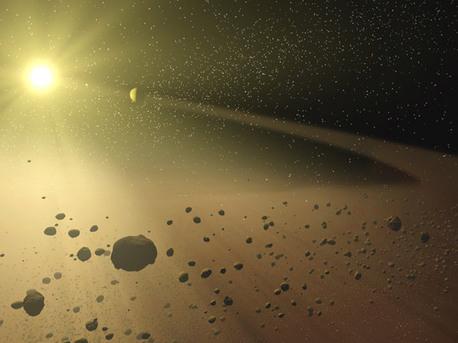 Der Asteroidengürtel unseres Planetensystems mit seinen vielen kleinen Planetesimalen.