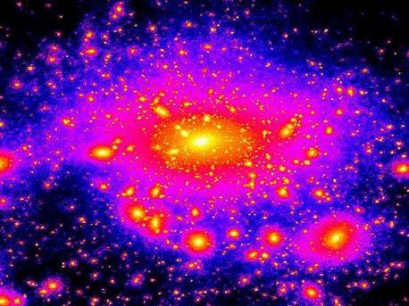 Dieses Bild von einer Supercomputer-Simulation zeigt die Dichte der dunklen Materie in unserer Milchstraße. Die Farbskala von blau über violett zu rot und gelb korrespondiert in dieser Falschfarbenaufnahme mit einer Zunahme von Dunkler Materie. Die helle Zentralregion repräsentiert das leuchtkräftige Zentrum unserer Galaxis aus Gas und Sternen. Die klumpige Struktur in deren Außenbereichen zeigt Ansammlungen von Dunkler Materie, die wiederum Sternmaterie und Gas gravitativ an sich bindet.