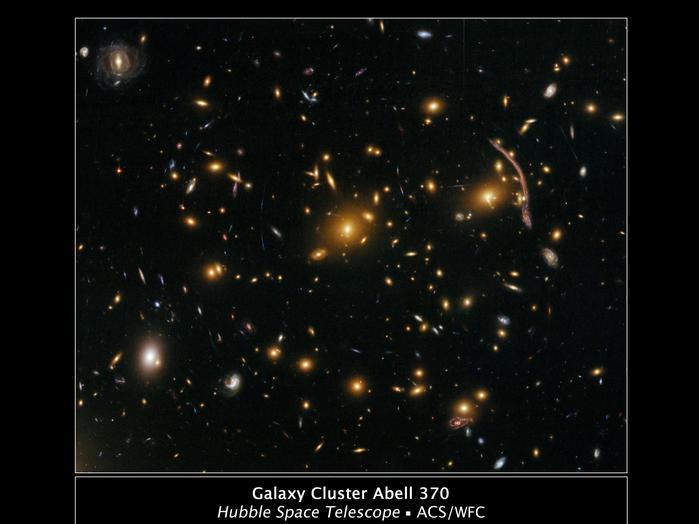 Der Sternhaufen Abell 370 ist fünf Milliarden Lichtjahre von der Erde entfernt. Bei diesem Cluster haben Forscher erstmals den so genannten Gravitationslinseneffekt festgestellt. Das bedeutet, dass die enorme Schwerkraft des Sternenhaufens das Licht weit dahinter liegender Galaxien verzerrt. Diesen Effekt erkennt man auf dem Bild an Lichtbögen und -schlieren.