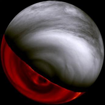 Extrem wolkenverhangen: Die Venus, aufgenommen von Venus Express.