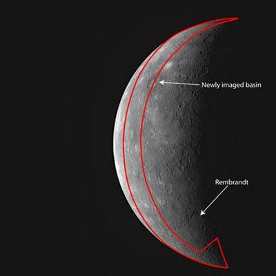 Die Gebiete des Merkur, die Messenger beim Vorbeiflug letzte Woche zum ersten Mal fotografierte.