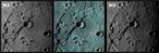 Krater Rembrandt in einer 3D-Aufnahme (Mitte) der Sonde Messenger.