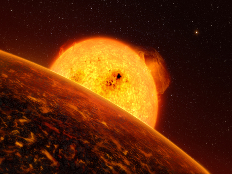 In early February 2009, the CoRoT space telescope discovered CoRoT-7b, the first rocky planet to be detected outside the solar system (artist's impression). CoRoT-7b is five times heavier than our home planet and has approximately the same density. This extra-solar planet therefore belongs to the class of 'Super Earths' – of which about a dozen are known – although this is the first time it has been possible to determine the density of one of them.