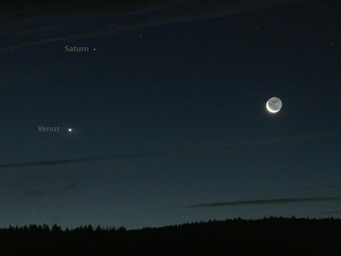 Saturn, Venus und Mond am Morgen des 16.10.2009
