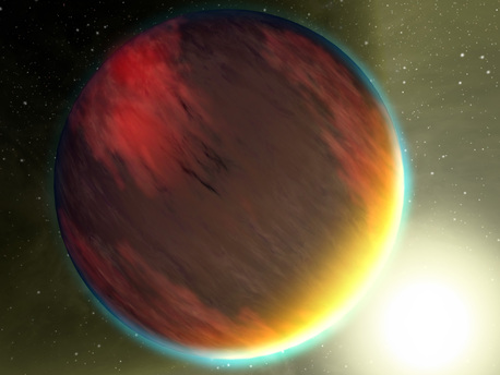 The basic chemistry for life has been detected in a second hot gas planet, HD 209458b, depicted in this artist's concept.