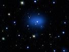 This is a composite image of the most distant galaxy cluster yet detected.