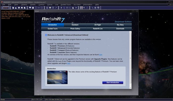 This is the start panel of Redshift 7 Advanced. It provides an introduction to Redshift and all its important features. Additionally there are many shortcuts to the content that comes with Redshift 7 Advanced.