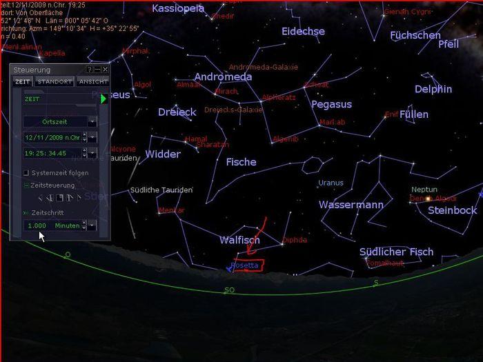 Aufgang von Rosetta gegen 19:30 Uhr über dem Südost-Horizont in den südlichen Gefilden des Sternbilds Walfisch.