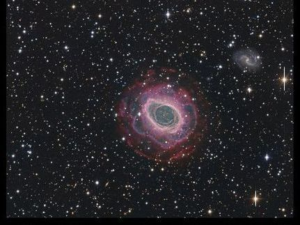 "Photo of the Ring Nebula in the Lyra constellation from the documentary photo gallery of the Calar Alto Observatory.  The scale is 0.15"" per Pixel.  Picture credits: Vicent Peris (DSA/OAUV), José Luis Lamadrid (DSA/CEFCA), Jack Harvey (DSA/SSRO), Steve Mazlin (DSA/SSRO), Ana Guijarro (DSAZ)"