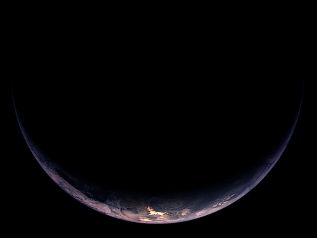 Noch ein wunderschönes Bild der teilbeleuchteten Erde (Südamerika und Teile der Antarktis) vor dem Flyby. Der Abstand von Rosetta bei dieser Aufnahme betrug 350 000 Kilometer, die Auflösung 6,5 km/pixel.