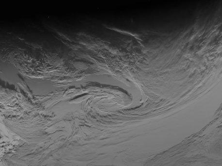 Wolken eines Antizyklons über dem Südpazifik, den Rosetta bei Ihrem Vorbeiflug ablichtete.