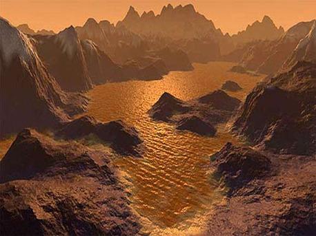 Künstlerische Darstellung der vermuteten Kohlenwasserstoff-Seen auf Titan. Potenzielle Lebensräume für Mikroorganismen?