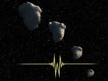 This is an artist's impression of a small Kuiper Belt Object (KBO) occulting a star. NASA's Hubble Space Telescope recorded this brief event and allowed astronomers to determine that the KBO was only one-half of a mile across, setting a new record for the smallest object ever seen in the Kuiper Belt.