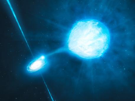Representación artística. El agujero negro tiene una masa de alrededor de veinte veces la masa del Sol y se asocia con una estrella Wolf-Rayet, una estrella que se convierta en un agujero negro en sí. Gracias a las observaciones realizadas con el instrumento FORS2 montado en el Very Large Telescope de la ESO, los astrónomos han confirmado un primer presentimiento de que el agujero negro y la danza de estrellas Wolf-Rayet alrededor de la otra en un vals diabólico, con un período de aproximadamente 32 horas. Los astrónomos también encontraron que el agujero negro está dejando a la materia lejos de la estrella a medida que orbitan entre sí. Cómo un sistema tan fuertemente unido ha sobrevivido a la fase tumultuosa que precedió a la formación del agujero negro es todavía un misterio.
