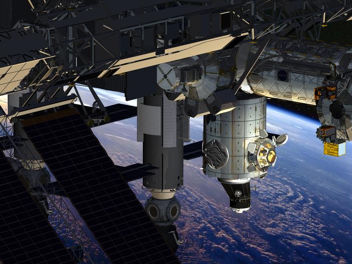 Die Grafik zeigt die Beobachtungskuppel Cupola und den Verbindungsknoten Tranquility nach der Montage auf der Internationalen Raumstation ISS.  Am 7. Februar 2010 starteten Cupola und Tranquility, um an der ISS montiert zu werden.