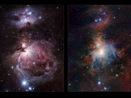Comparaison dans le visible et dans l'infrarouge de l'image complète de la nébuleuse d'Orion prise par VISTA