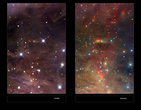 The left-hand panel shows a dusty region of the Orion Nebula in visible light. On the right the VISTA infrared view is shown. By observing infrared light many new features appear, including many young stars and their outflows. These strange features are of great interest to astronomers studying the birth and youth of stars.