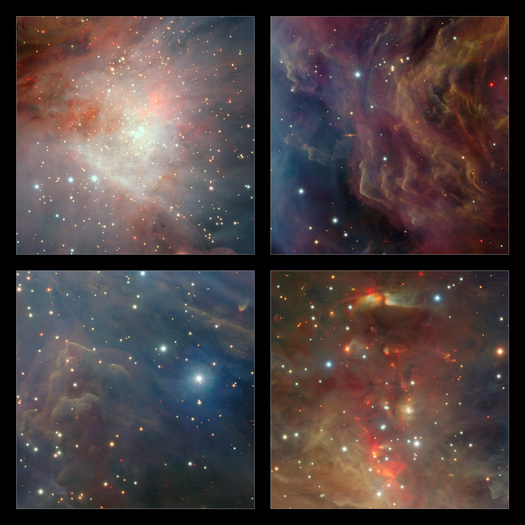 On the upper-left, the central region of VISTA's view of the Orion Nebula is shown, centered on the four dazzling stars of the Trapezium. A rich cluster of young stars can be seen here that is invisible in normal, visible light images. In the lower-right panel the part of the nebula to the north of the center is shown. Here there are many young stars embedded in the dust clouds that are only apparent because their infrared glow can penetrate the dust and be detected by the VISTA camera. Many outflows, jets and other interactions from young stars are apparent, seen in the infrared glow from molecular hydrogen and showing up as red blobs. On the upper-right, a region to the west of center is shown. Here the fierce ultraviolet light from the Trapezium is sculpting the gas clouds into curious wavy shapes. A distant edge-on spiral galaxy is also seen shining right through the nebula. At the lower-left a region south of the center is shown. Each extract covers a region of sky about nine arcminutes across.