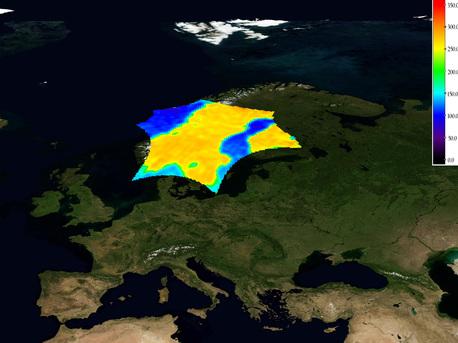 Imagen de la temperatura de brillo sobre Escandinavia capturado por SMOS.