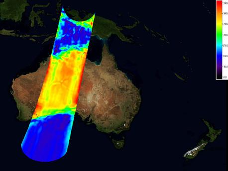 Imagen sin calibrar, capturado por SMOS, de la temperatura de brillo sobre Australia.