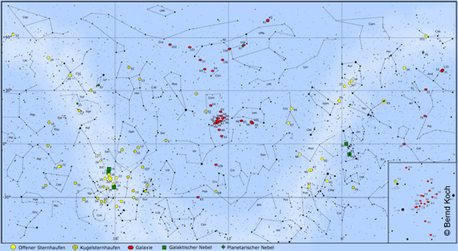 Alle 110 Messier-Objekte auf einen Blick. Sie sind recht ungleichmäßig verteilt: Im Frühjahr häufen sich die Galaxien (rot) im zentralen Kartenbereich in der Jungfrau und im Haar der Berenike (siehe Kartenausschnitt) sowie im Bereich des Großen Bären. Die offenen und kugelförmigen Sternhaufen (gelb) dominieren im linken Kartenteil dicht gedrängt am Sommer- himmel von Skorpion über Schütze und Schlangenträger bis zum Schwan. Im Herbst und Winter (rechter Kartenteil) sind alle Objektgruppen gleichmäßiger verteilt. Die Nebel sind in grüner Farbe dargestellt.