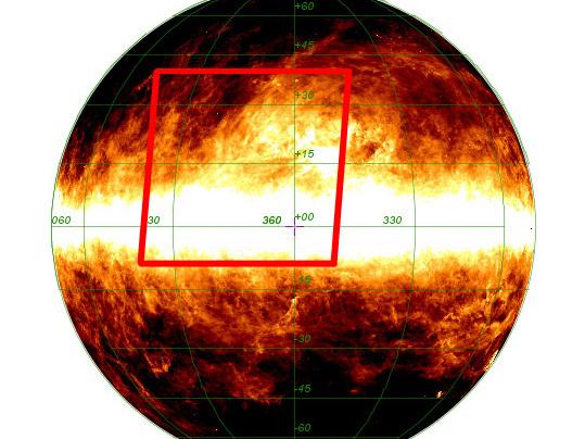 El cuadro rojo muestra la región del cielo visto en la nueva imagen de Planck, esta cubre una porción del cielo alrededor de 55 °.