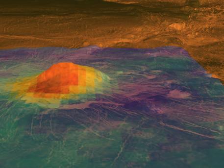 Die Abbildung zeigt den Vulkan Idunn Mons auf der Venus. Basis für die Darstellung des Höhenzugs sind Daten der NASA-Sonde Magellan - veranschaulicht in einer 30-fachen Überhöhung. In hellem Braun dargestellte Bereiche sind uneben oder haben steile Flanken, dunkel gefärbte Gebiete sind gleichmäßig geformt. Die farbig gekennzeichneten Bereiche zeigen das Wärmemuster der Region und basieren auf den Daten des Spektrometers VITRIS auf der europäischen Sonde Venus Express. Die wärmsten Gebiete sind in rot-orange, die kühlsten in leichtem Violett dargestellt. Die höchsten Temperaturen wurden am Berggipfel, der sich 2,5 Kilometer über die Ebene erhebt, und an den von dort ausgehenden Lavaflüssen festgestellt.