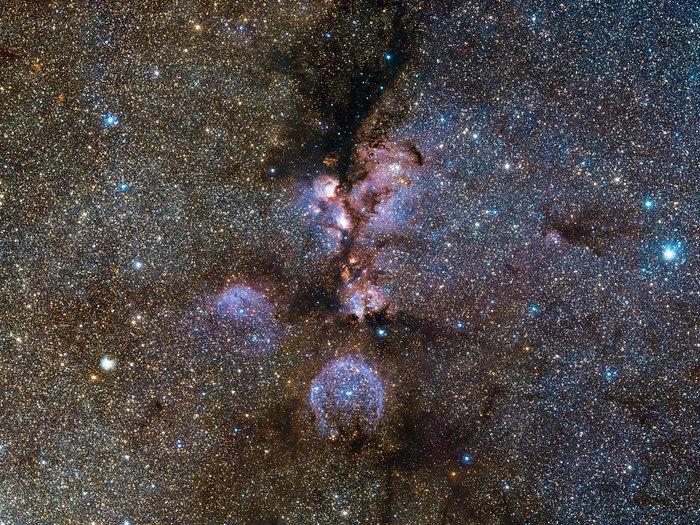 Imagen infrarroja de la Nebulosa Pata de Gato tomada por VISTA