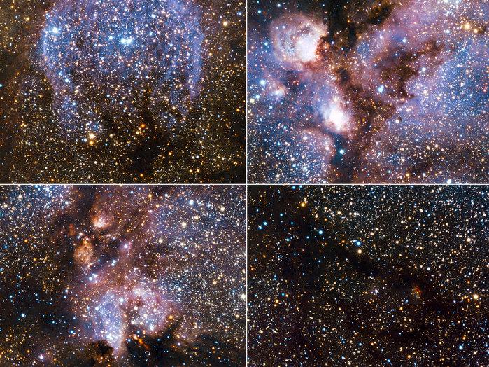 Lo más destacado de la imagen infrarroja de la Nebulosa Pata de Gato tomada por VISTA