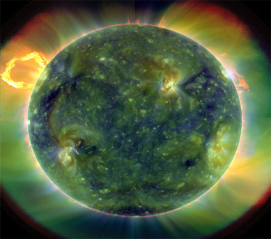 A full-disk multiwavelength extreme ultraviolet image of the sun taken by SDO on March 30, 2010. False colors trace different gas temperatures. Reds are relatively cool (about 60,000 Kelvin, or 107,540 F); blues and greens are hotter (greater than 1 million Kelvin, or 1,799,540 F).