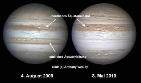 """Diese beiden Aufnahmen gelangen dem australischen Astrofotografen Anthony Wesley am 4. August 2009 und am 8. Mai 2010. Deutlich zu erkennen ist das """"verschwundene"""" südliche Äquatorialband in der späteren Aufnahme."""