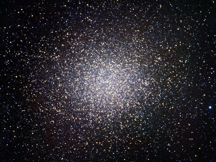 The globular cluster Omega Centauri was one of the targets observed for first light of the TRAPPIST national telescope at La Silla. The cluster contains as many as ten million stars. This image, 20 arcminutes across, shows only the central parts of Omega Centauri. It is made by combining data obtained through three filters (B, V and R).