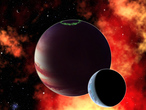 Distant exoplanets can easily have habitable moons, as this illustration shows.
