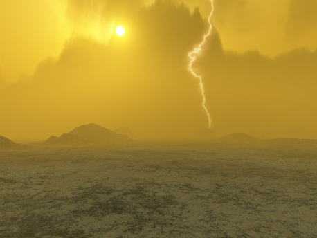 This artist's concept of Venus, dated 2006, suggests the presence of lightning in the atmosphere.