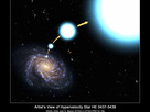 In this illustration, the hot, blue star HE 0437-5439 has been tossed out of the center of our Milky Way galaxy with enough speed to escape the galaxy's gravitational clutches. The stellar outcast is rocketing through the Milky Way's distant outskirts at 1.6 million miles an hour, high above the galaxy's disk, about 200,000 light-years from the center. The star is destined to roam intergalactic space.