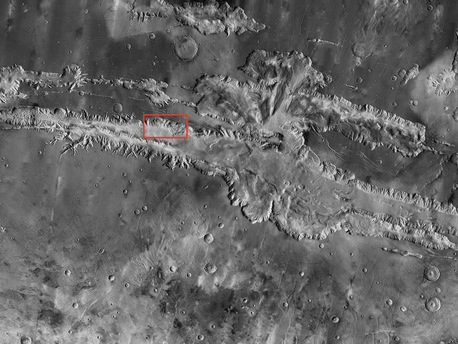 """Valles Marineris, the """"Grand Canyon of Mars,"""" sprawls wide enough to reach from Los Angeles to nearly New York City, if it were located on Earth. The red outline box shows the location of a second, full-resolution image."""